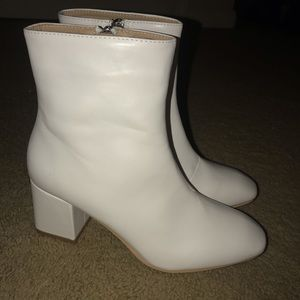 NWOT boohoo white booties